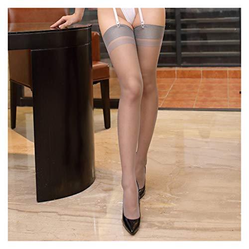 YGLONG StrüMpfe Damen Sexy Sexy Naht Strümpfe mit Rückennähne transparent Seidenstrumpf Oberschenkel Hohe Nylon Frauen Strümpfe Halterlose StrüMpfe (Color : Gray, Size : One Size)