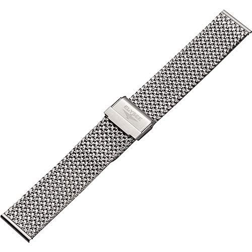 Elysee Uhrenarmband - Feingliedriges Milanaise-Armband aus Edelstahl mit Sicherheits-Faltschließe -