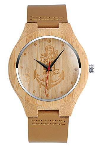 SUPBRO Herren Uhren Holzuhr Holz Armbanduhr Klassik Analoge Quarzwerk Uhren Unisex Unendlichkeit Leder Armband Anker Damen