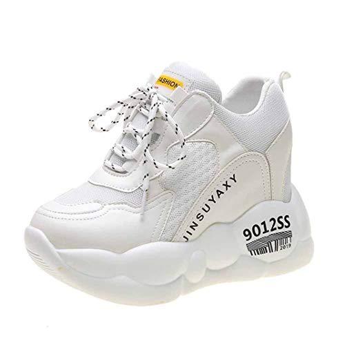 XHCHE Chaussures décontractées pour Femmes Printemps Automne à Semelle épaisse Bonbon-Couleur à Semelle Chaussures Confortable Cuir Maille Cravate Bouche Peu Profonde avec des Sports Occasionnels