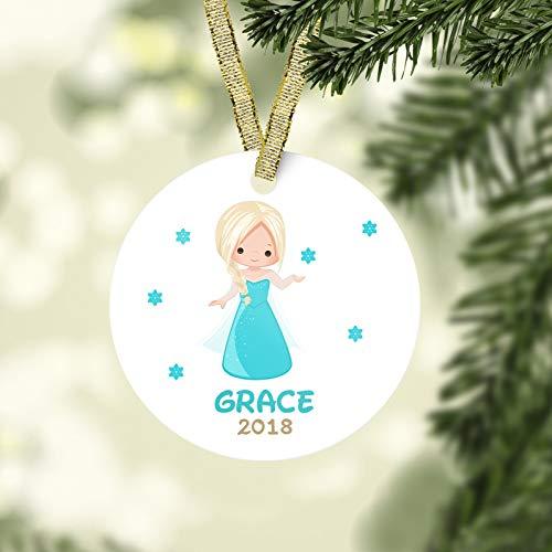 Lplpol Elsa La Reine des Neiges Décoration de Noël Disney Ornement Enfant Décoration de Noël Princesse Ornement Bébé Premier Noël Personnalisé Ornement de Noël