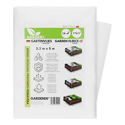 GARDENIX® 16 m² Frühling Gartenvlies mit Wasserdurchlässigkeit, zur Abdeckung von Gemüsebeeten, UV-Stabilisierung (3,2m x 5m)
