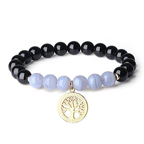 COAI Pulsera de Turmalina Negra y Ágata Azul con Amuleto Árbol de la Vida
