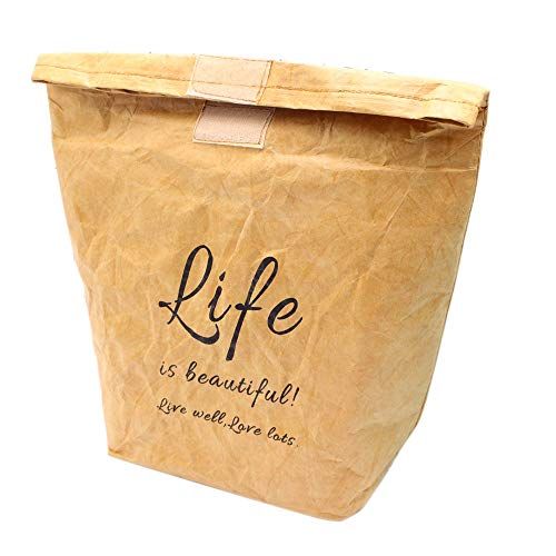 inherited Kraft bellamente Decoradas, olsas de Regalo de Papel, Bolsas Papel Kraft Bolsa Aislamiento térmico Reutilizable marrón Bolsa de Comida-Color marrón(31×20×11)