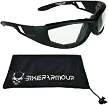 Bikershades Motorcycle Riding Transitional Glasses Foam Padded for Men & Women. Photochromic Lenses, Removable Foam Cushion & Microfiber Case. Renegade/TR/CL