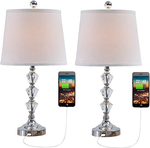 Lámpara de mesa de cristal con 2 puertos de carga USB Conjunto de 2 mesas de noche lámpara de noche lámpara de mesita de noche para mesita de noche. YZPLDD