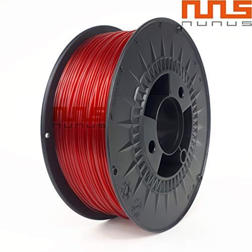 NuNus PETG Filament 1KG - 1,75mm Polyethylenterephthalat Lebensmittelecht Filament *Premium Qualität in 18 Farben geeignet für 3D Drucker, 3D Pen, MakerGear Ultimaker uvm(1.75mm, transparent rot)