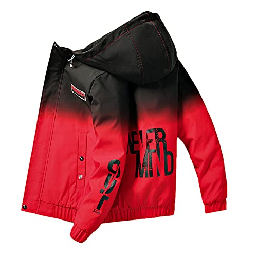 MONSFEVBG Thick Red Jacket Male Hooded Cotton Thickened Korean Logo Youth Jacket Men Thick Red XXL
