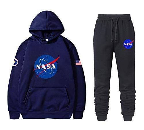ATHIHOOD Unisex NASA Druck Jogginganzug Trainingsanzug Sportanzug Jungen Herren Tracksuit Hoodie Pullover + Sporthose XS-XXL (Blau-h,M)
