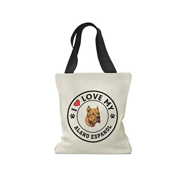 Custom Canvas Tote Shopping Bag I Love My Alano Espanol Dog Style A Reusable Beach for Women 1