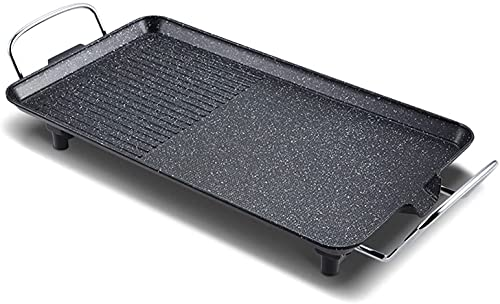 LXNQG Electric Smokeless Indoor Grill with Non-Stick Cooking Surface and Adjustable Temperature Knob ?multifunctional Barbecue Tray,1355W,Black