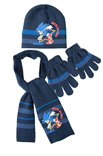 Sonic the Hedgehog SEGA Mütze, Schal und Handschuh Set Dunkelblau 54 cm