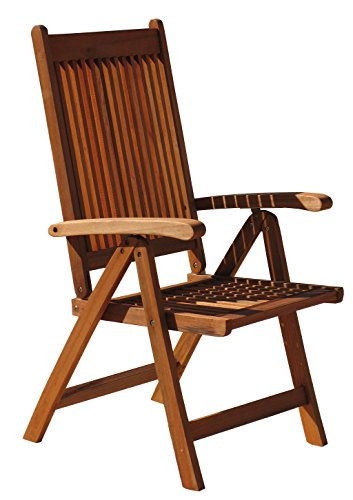 GRASEKAMP Qualität seit 1972 GRASEKAMP Quality Rio Nature Folding Wooden Garden High-Backed Chair, wood, brown, L x B x H 57 x 60 x 109 cm