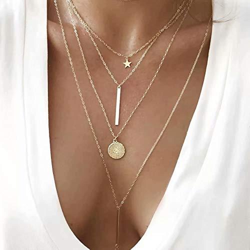 ZNYD Color de los Granos Collar Colgante de Cristal de múltiples Capas de la Vendimia de Las Mujeres de Oro Estrella de la Luna de Hornos de la Media Luna Collares del ahogador joyería Nueva