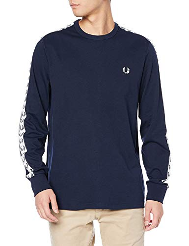 Fred Perry Men's Taped Long Sleeve T-Shirt Blue in Size Large