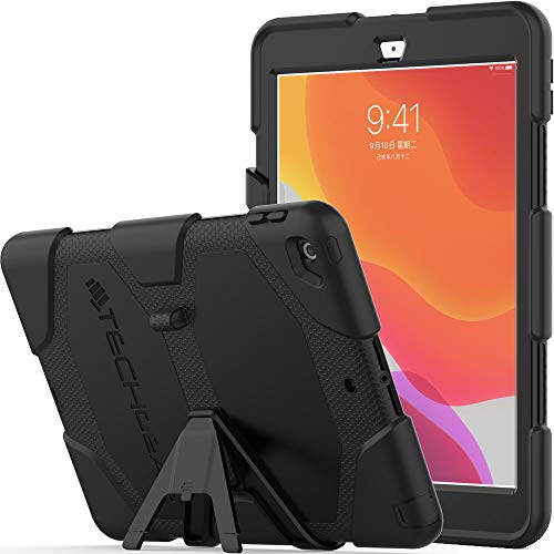 TECHGEAR G-SHOCK Case Designed for iPad 10.2' 2020/2019 [8th/7th Generation] Tough Rugged HEAVY DUTY Armour Shockproof Survival Protective Case with Stand - Kids Schools Builders Workman Case BLACK