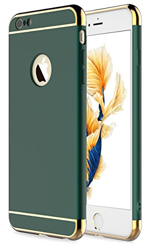 RORSOU iPhone 6s Plus Case,iPhone 6 Plus Case, 3 in 1 Ultra Thin and Slim Hard Case Coated Non Slip Matte Surface with Electroplate Frame for Apple iPhone 6/6s Plus(5.5') - Dark Green