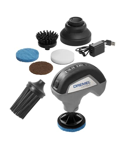 Dremel PC10-05 Versa 4-Volt Cordless Lithium-Ion Max Power Scrubber Automotive Cleaning Tool Kit - Includes 4 Pads, Bristle Brush, Splash Guard, and Charger