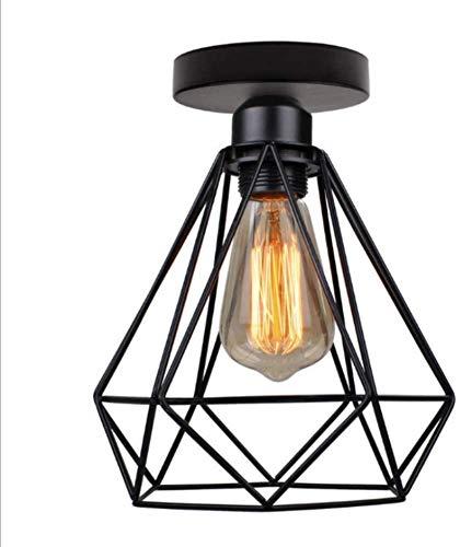 Pendelleuchte Retro Hängelampe Drahtleuchte,Retro E27 Lampenfassung Leuchtmittel Metall Lampenschirm Deckenlampe Semi-Flush Mount Pendelleuchte,Schwarz,200mm*220mm(Leuchtmittel nicht inklusive)