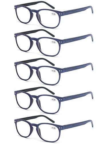 Un Pack de 5 Gafas de Lectura 2.25 para Hombres/Mujeres - Lente Clara,Vision Clara,Efecto Madera - Moda,Practicas,Ligeras,Comodas