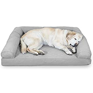 Furhaven Pet Dog Bed – Cooling Gel Memory Foam Quilted Traditional Sofa-Style Living Room Couch Pet Bed with Removable Cover for Dogs and Cats, Silver Gray, Jumbo