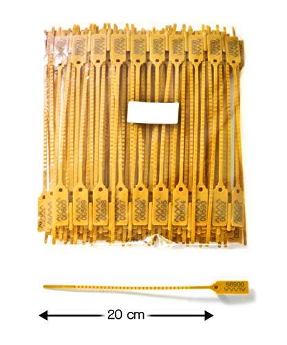 100 PRECINTOS DE SECURIDAD - Largo total: 20 cm. Marcaje: Numeración sequential - Material: Polipropileno. AJUSTABLE multifuncional y de aplicación versátil.