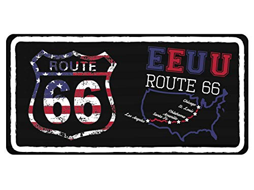 Oedim Matricula Decorativa Americana 30,00 cm x 15,00 cm EE.UU Ruta 66 | Decoración Pared | Aluminio 3 mm Resistente