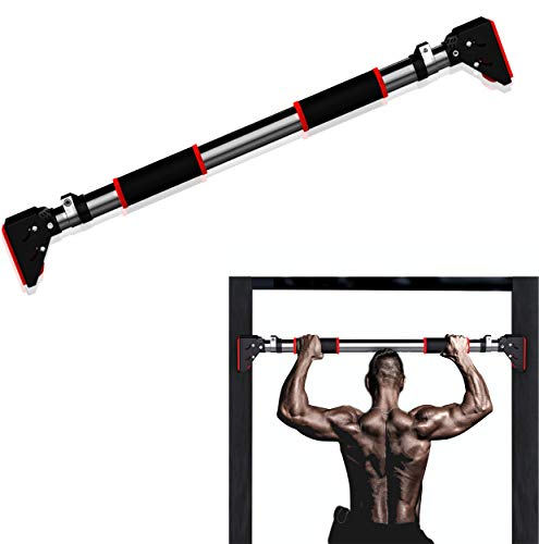 """Best Companions No Screws Pull Up and Chin Up Bar Adjustable Exercise Bars Upper Body Doorway Workout Horizontal Bar Gymnastics for Home Gym Size Suitable for 36.3""""-48.8"""" Door Frame"""