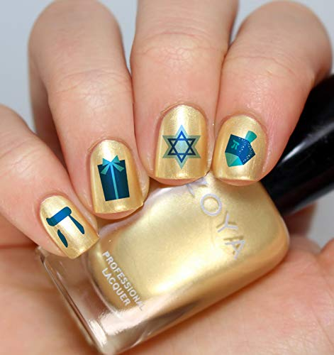 Hanukkah Holiday Assortment Water Slide Nail Art Decals Set #1 - Salon Quality 5.5' X 3' Sheet!