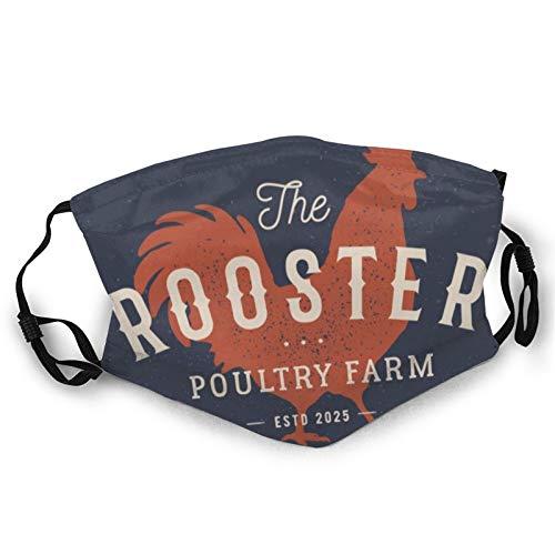 Rooster Poultry Farm Unisex Adult Anti Dust Face Mask Reusable Black Mouth Masks Black