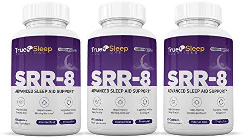 SRR 8 Sleeping Pills Sleep Aid All Natural Non Habit Forming Valerian Root Melatonin Chamomile for Men Women 60 Capsules 3 Bottles