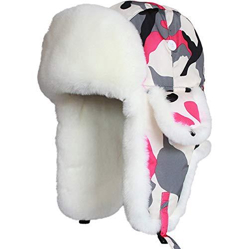 Bonnet D'Hiver,Oreille Chaude Hiver Bomber Volet Hat,Fausse Fourrure Protection Froid Windproof Aviator Trapper Fédération Ushanka Hiver Chaud Épais,Pac Piscine Froide Pink Hat Camouflage,L() 58
