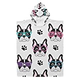 N/ A Kids Hooded Beach Bath Towel - Cute French Bulldogs with Glasses Hooded Baby Towel for Bathing Towels Hot Spring Water Park Perfect Chirld Gift
