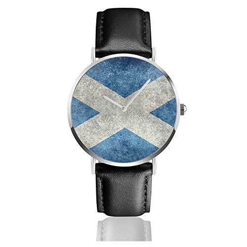 Reloj de pulsera minimalista de cuarzo con bandera nacional de Escocia, correa de cuero