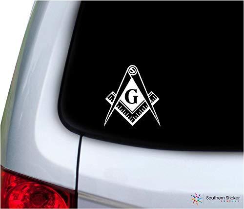 Southern Sticker Company Freemason Masonic Lodge Symbol 3.9x4.2 inches Size Laptop car Window Truck - Made and Shipped in USA (White)