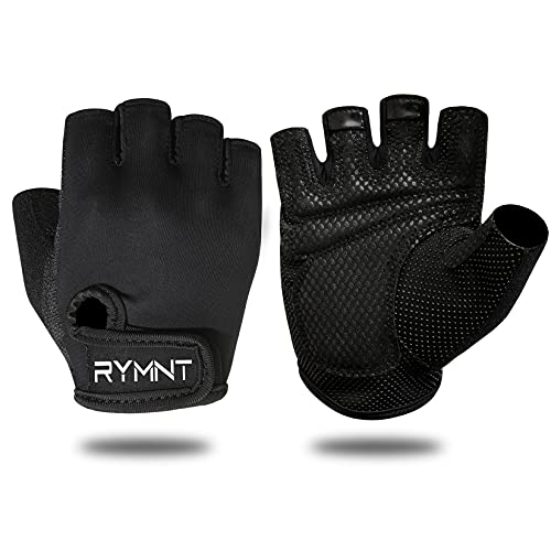 Workout Gloves for Women Men - Gym Gloves for Weight Lifting,Exercise Gloves and Crossfit Gloves for Fitness,Fingerless Yoga Gloves with Grips for Training,Powerlifting,Row,Cycling.Small-Black