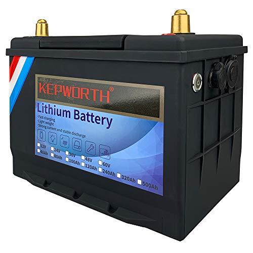 12V 80Ah LiFePO4 Batería de litio, hierro, fosfato, ciclo profundo con BMS para caravanas, caravanas, carros de golf marinos, energía de emergencia, funcionamiento en serie o paralelo