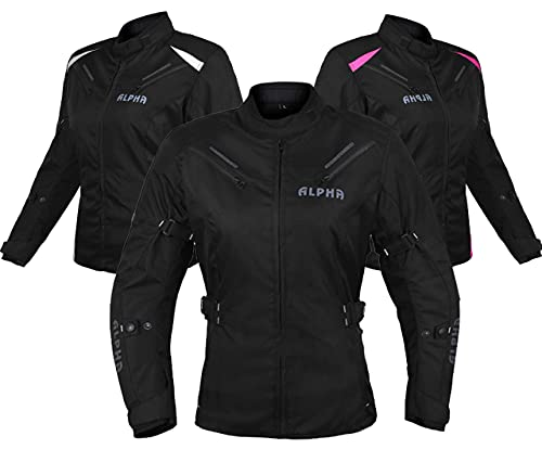 ALPHA CYCLE GEAR ALL SEASON WOMEN MOTORCYCLE JACKET WATERPROOF RIDING WITH CE ARMOUR (BLACK, LARGE)