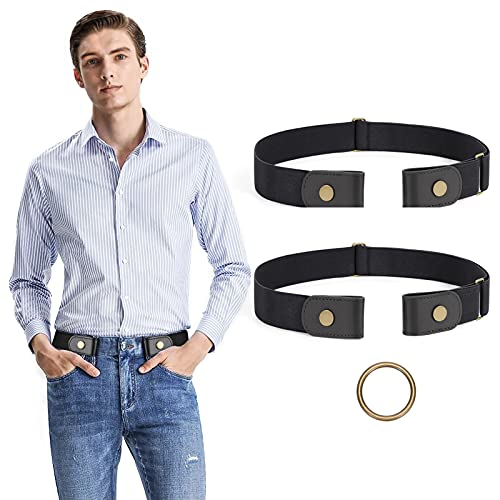 2 Pack No Buckle Stretch No Show Belt for Men,Buckless Invisible Elastic Belt for Jeans Pants