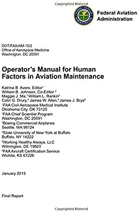 Operator's Manual for Human Factors in Aviation Maintenance: (Federal Aviation Administration)