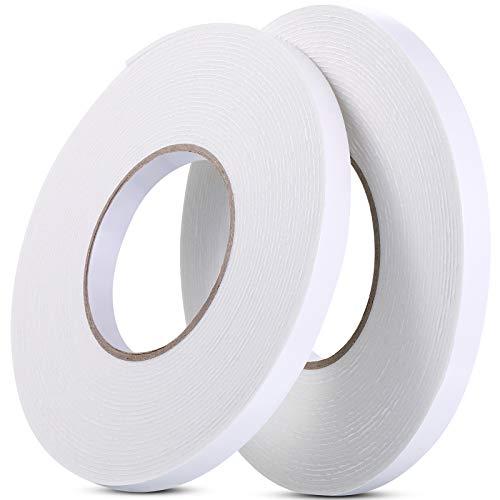 2 Rollos Cinta Adhesiva de Espuma Cinta de Espuma Blanca PE de Doble Cara Cinta Adhesiva Montaje Impermeable Herramienta DIY para Ventana Puerta Sistema de Aislamiento Insonorizado (12 mm)
