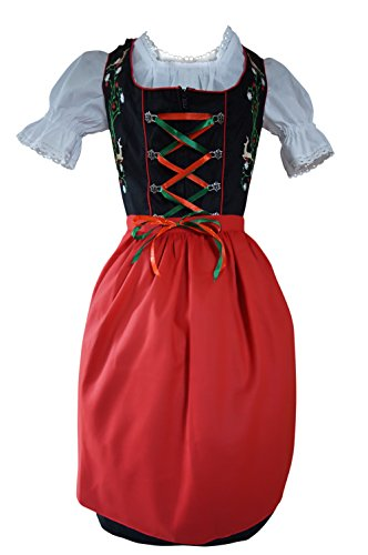 Damen-Dirndl Di23 Mini Gr.46, 3 TLG. Trachten-Kleid rot-schwarz mit Dirndel-Bluse u. -Schürze für Oktober-Fest