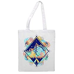 Women's tote bag modern mountain - Sports Gym Lunch Yoga Shopping Travel Bag Washable - 1.47X0.98 Ft