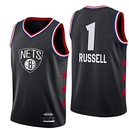LITBIT Baloncesto para Hombre NBA Jersey Nets 1# Russell 2021 All Star Transpirable Quick Secking Resistente al Desgaste Vestima sin Mangas Top para los Deportes,Negro,XXL
