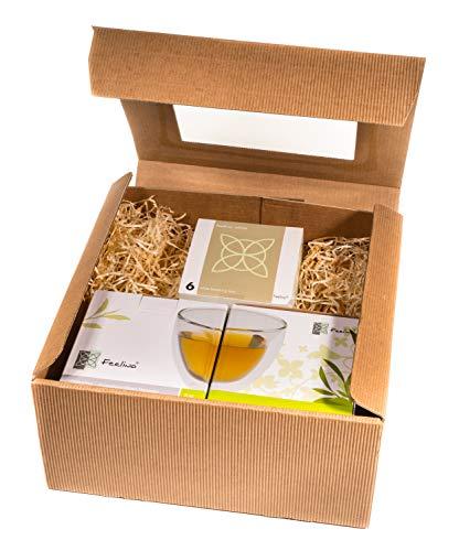 TEEBLUMEN-GESCHENKSET / 2x 250ml Herzglas doppelwandig + 6er-Box Teeblumen weißer Tee in neutraler naturfarbiger Geschenk-BOX - by Feelino