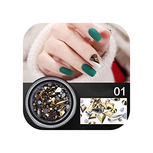 Nagel künstliche Kristalle 3d Nail Art liefert Dekorationen Zubehör Mischfarbe Chamäleon Stein Nagel Strass Kleine Irregula-A-