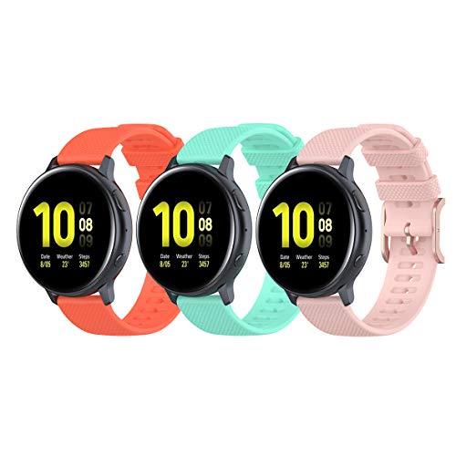 Koheby Correa compatible con Galaxy Watch 3 de 41 mm/Active 40 mm/Active 2, 20 mm de silicona de repuesto para Huawei Watch GT2 de 42 mm/para Garmin Venu Sq (Pack 3, naranja azul lago)