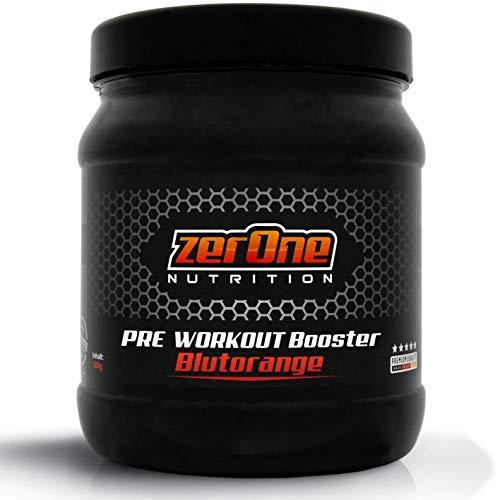 ZerOne Pre Workout Booster Fitness | Maximaler Pump Fokus | Leucin | Isoleucin | Valin 2:1:1 | Energie Kraft Ausdauer | L-Citrulline Maca | Koffein Guarana | Taurin | Blutorange...