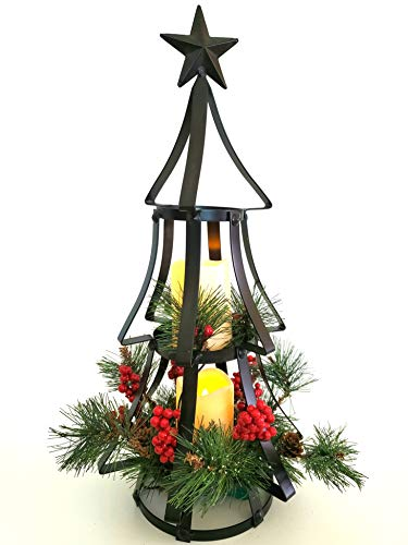 Holiday Cottage Rustic Tiered Lighted Christmas Tree