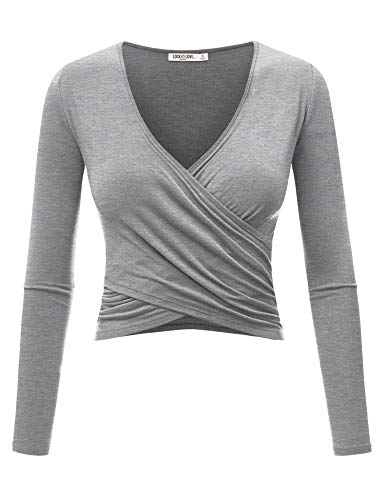 WT1482 Womens Deep V Neck Long Sleeve Cross Wrap Fitted Crop Top S Heather_Grey